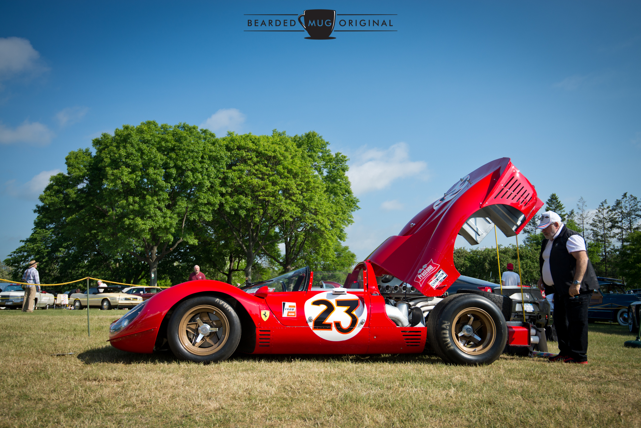 Jim Glickenhaus drove his Ferrari P3/4 from his home in nearby Rye, NY. Imagine being a kid and having this racecar pull up next to your parent's minivan at a traffic light. Unreal.