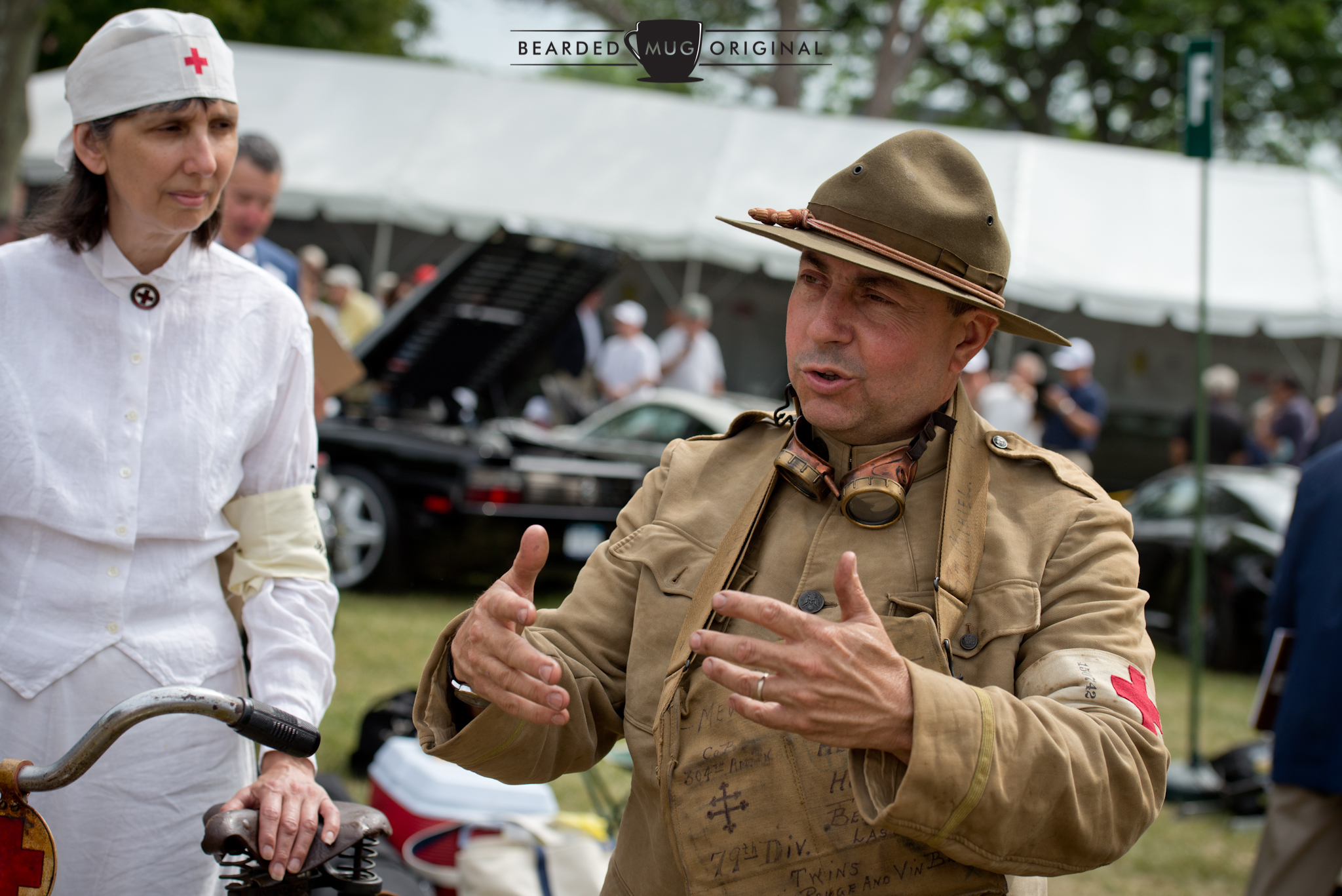 John here, owner of the 1917 Triumph Model H, is a collector of all things vintage and can talk shop on numerous topics for hours on end. His outfit was period-correct, right down the riding boots.