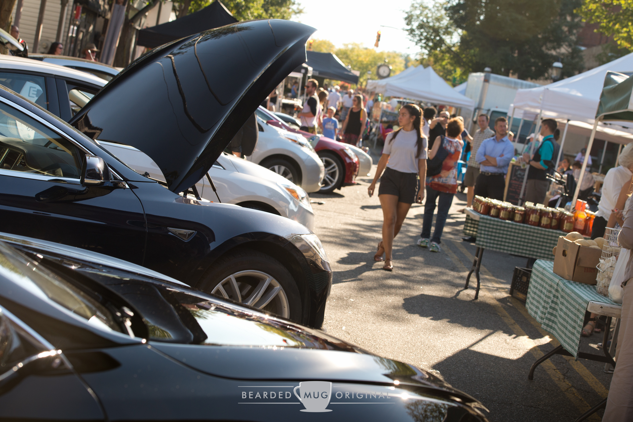 All varieties of EVs were represented, with a handful of Tesla Model S, two Roadsters, a few Leaves, and a Focus Electric and Smart ForTwo Electric Drive turning the heads of people that were otherwise there for fresh veggies.