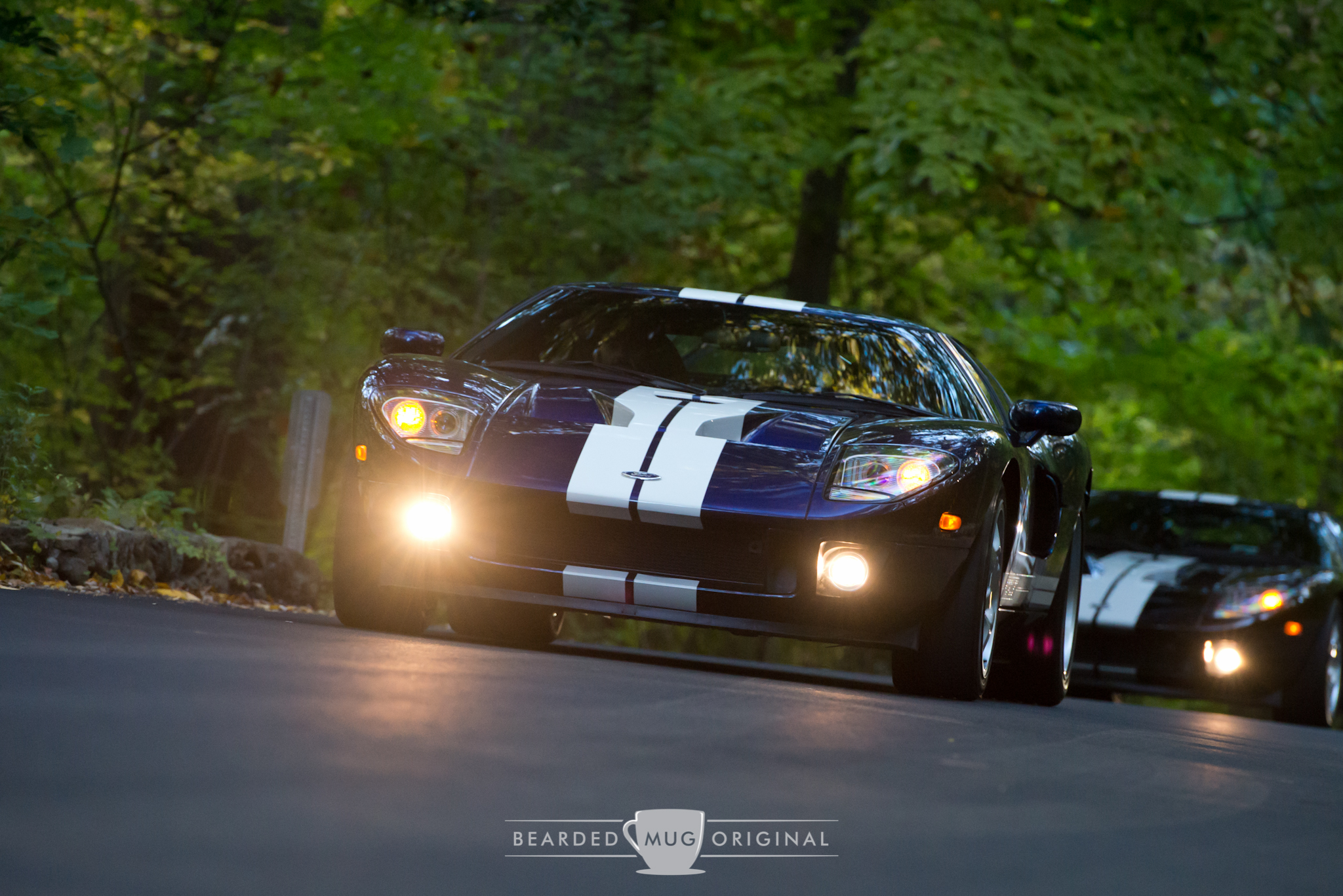 Ford matter-of-factly named the colors of the GT as they saw it. Here we have a Blue leading a Black through the woods at Waveny Park.