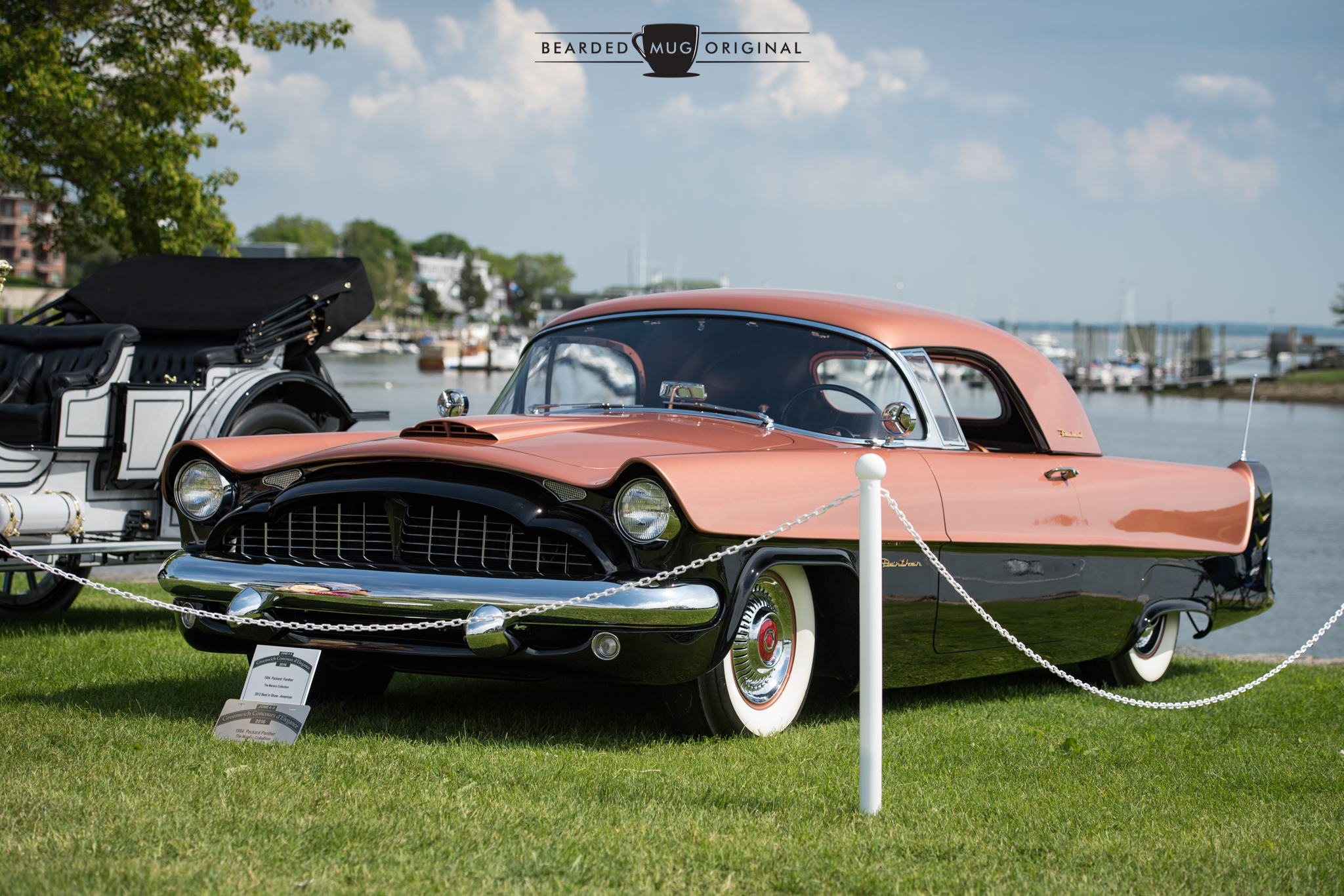 If one was unfamiliar with the area, it wouldn't be completely unreasonable to believe that this 1954 Packard Panther was parked at Pebble Beach.