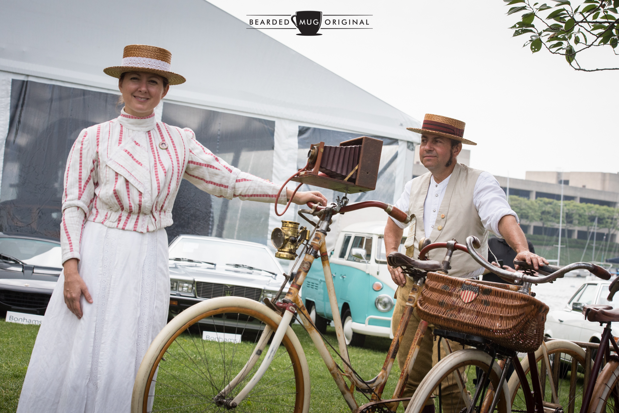 Concours Americana highlighted the domestic fashion of the times, along with bicycles built locally in places like Chicago. Check out the earliest rendition of the Go-Pro mounted on a Western Wheel Works Crescent Bicycle.