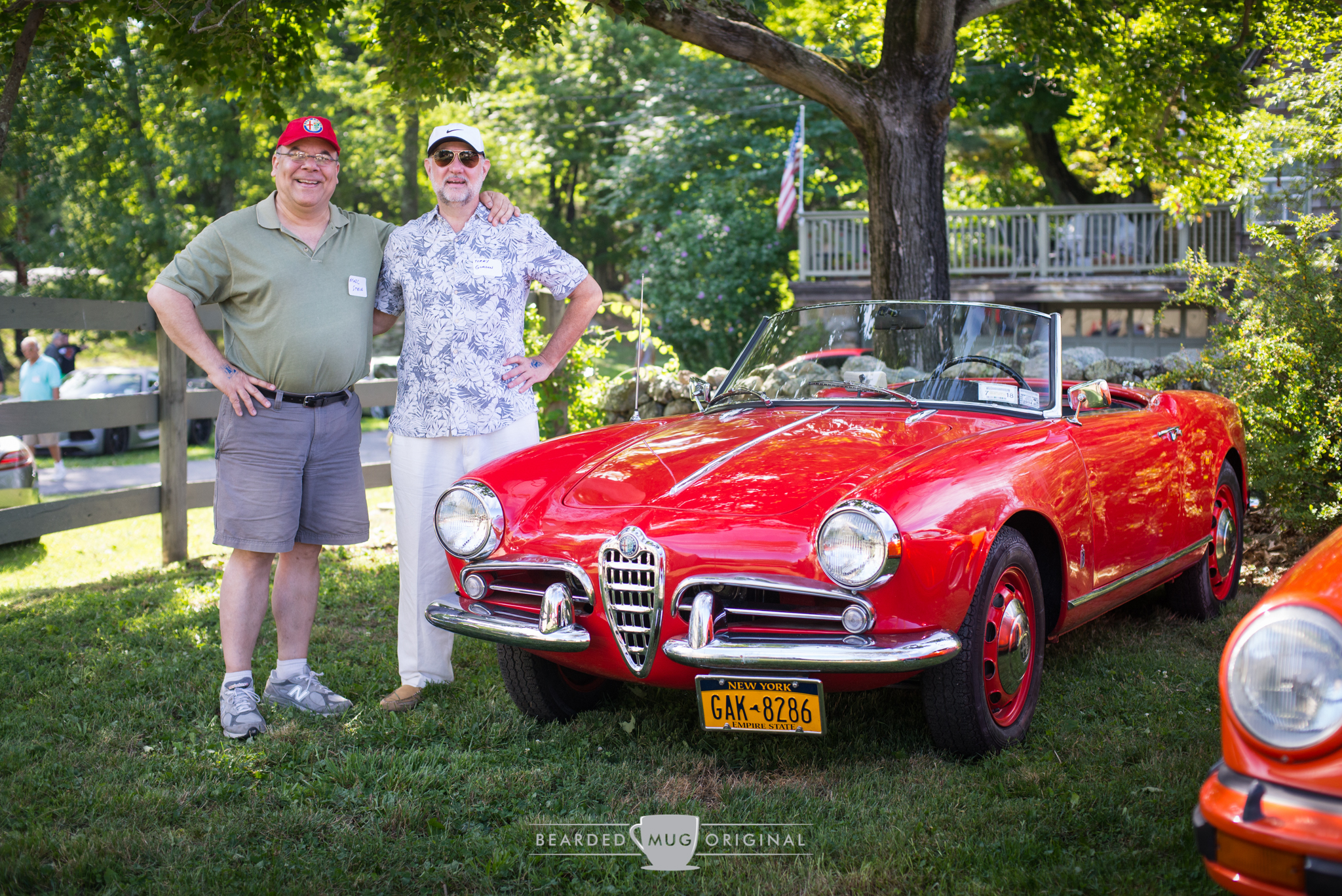 """Participants Marc (l.) and Gordon (r.) were motoring partners in this 1957 Alfa Romeo Giulietta Spider, a car that is quickly climbing my """"must have"""" list."""