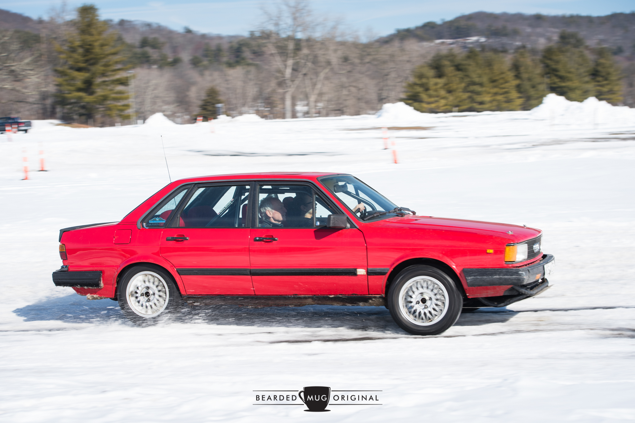 This Audi 4000, with Simon riding shotgun, was built to perform. And perform well it did, with quattro AWD adding grip to otherwise slippery conditions.
