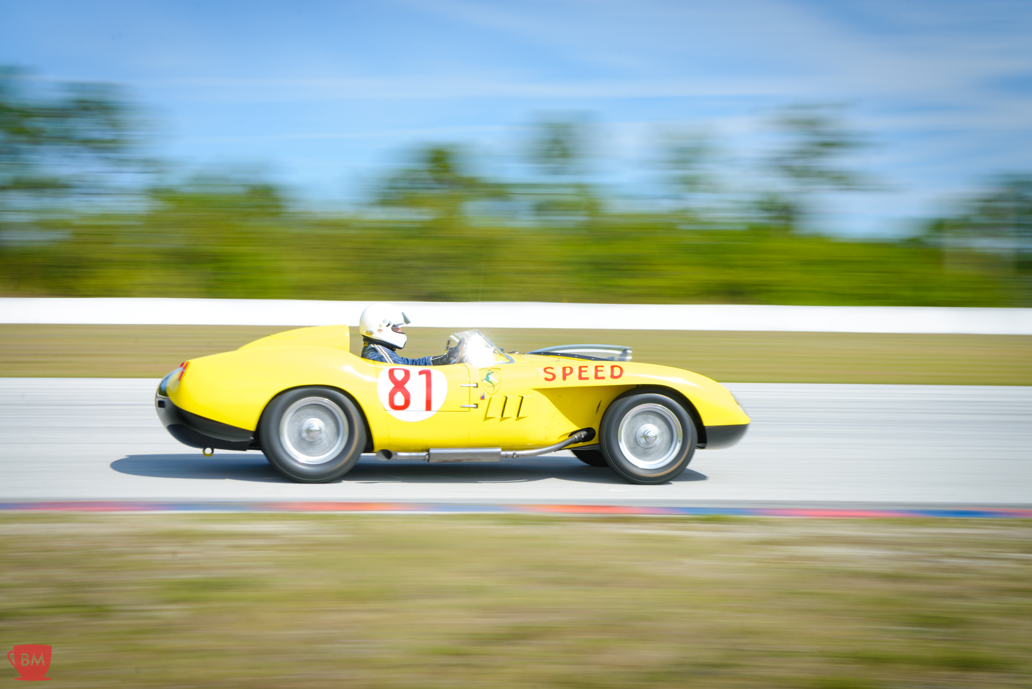 At speed during lapping at Palm Beach International Raceway.