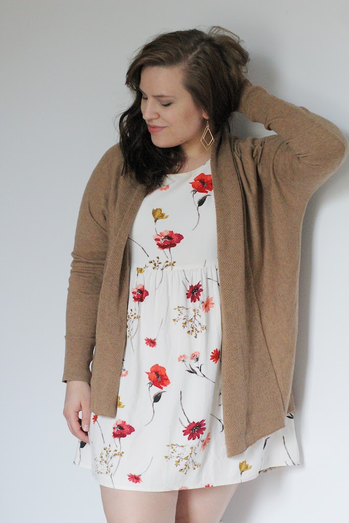 a simple, neutral, drapey cardigan - wedges or booties to finish