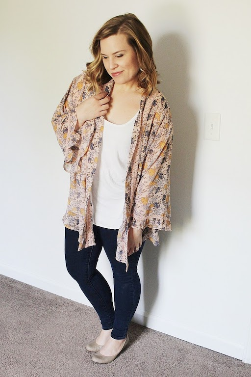 Skinny jeans, light loose tank, kimono, wedges (or wedge sandals!)