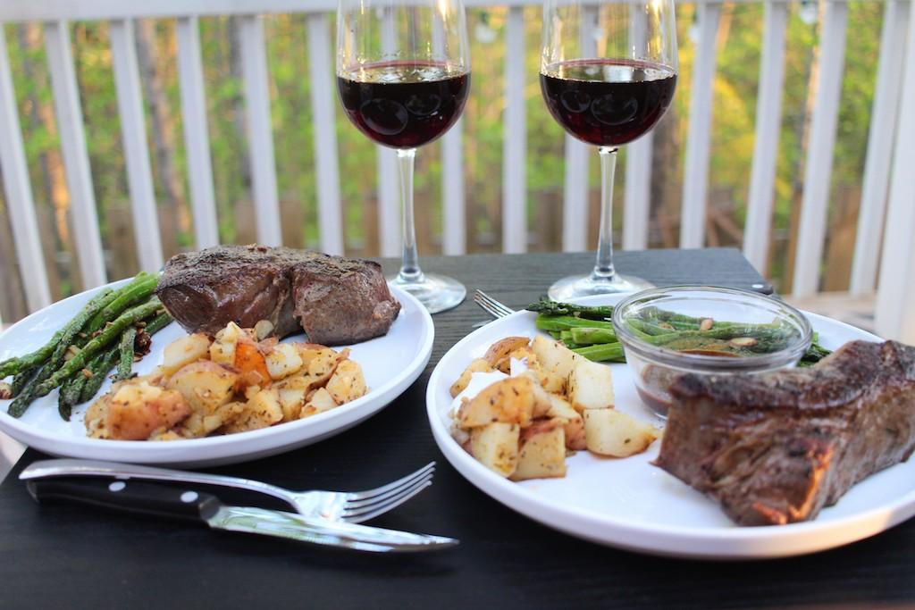 12. Steak and our favorite wine as a bonus anniversary celebration.