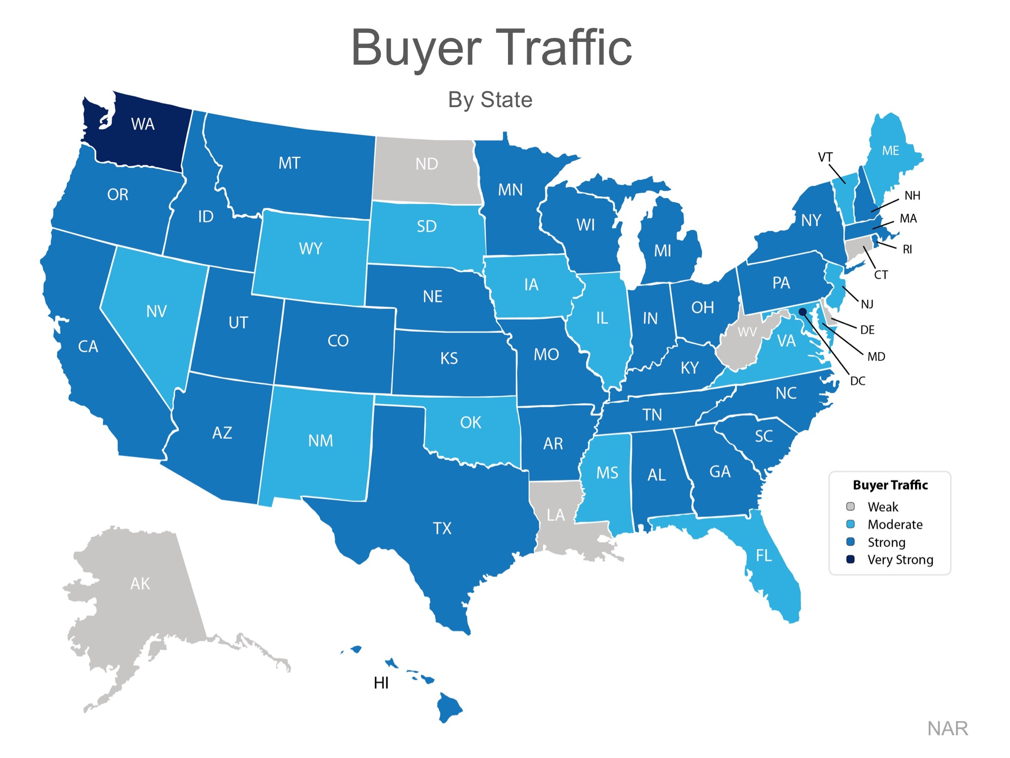 "The darker the blue, the stronger the demand for homes in that area. Only six states had a weak demand level.   Seller Supply   The Index also asked:  ""How would you rate seller traffic in your area?""   As you can see from the map below, the majority of the country has weak Seller Traffic, meaning there are far fewer homes on the market than what is needed to satisfy the buyers who are out looking for their dream homes"