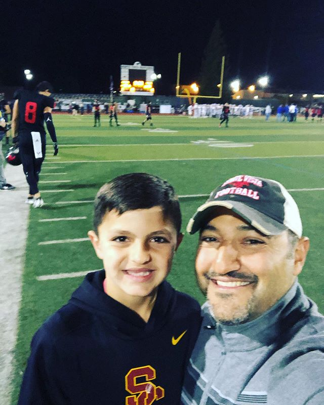 Little man got to roam the sidelines on the same field I played #football back in high school. I think he had a little fun...as did I. #montevistahighschool #gostangs #instagood #memorylane