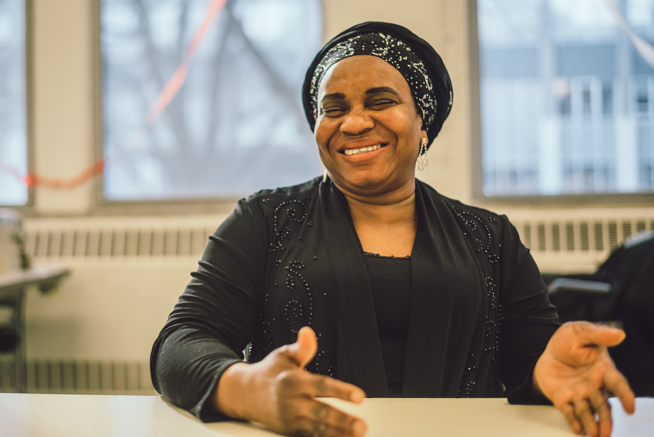 Mercy is one of four women behind Blue Tin Production Co-operative located in the American Islamic College in Chicago. Photo by Sehar Sufi.