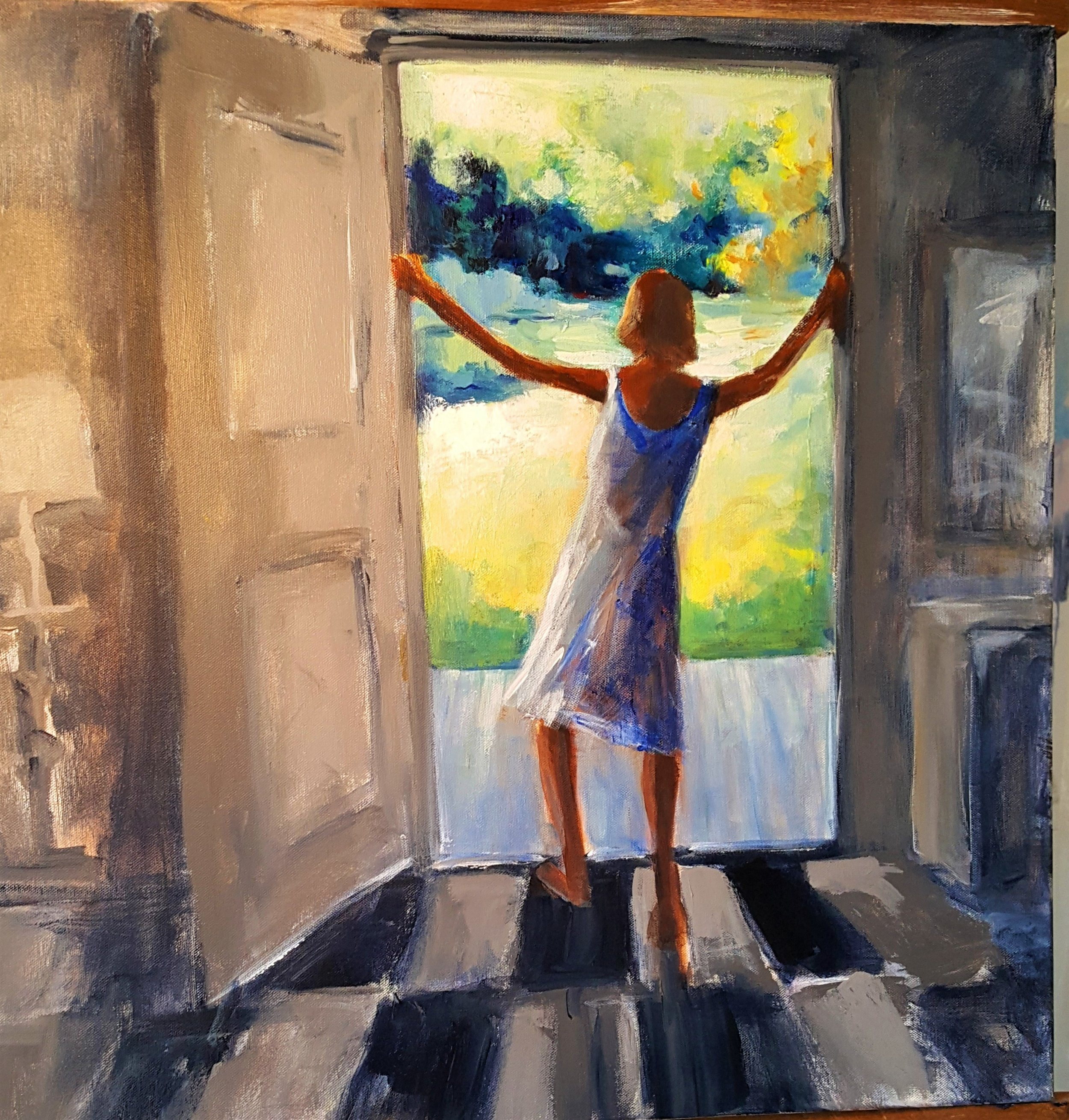 """""""Greeting the Morning""""  Acrylic and oil"""