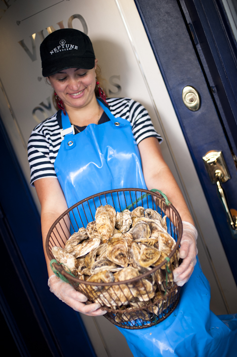 Staff Holding Oysters