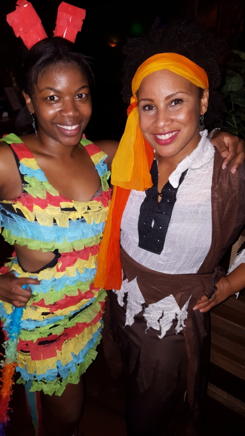 My Halloween Salsa Party at Cilantros Grill was GREAT! This is me and my awesome friend Keenan - can you guess what her costume is?