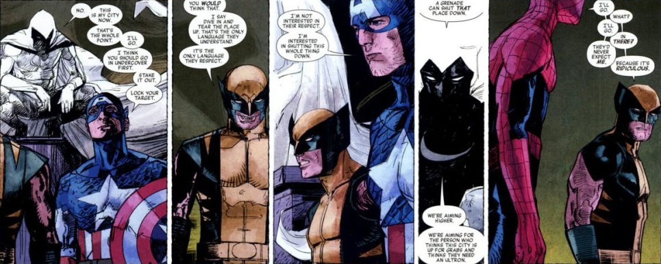 No, those aren't the Avengers. They were parts of Marc's psyche. Don't ask me. Ask Bendis.