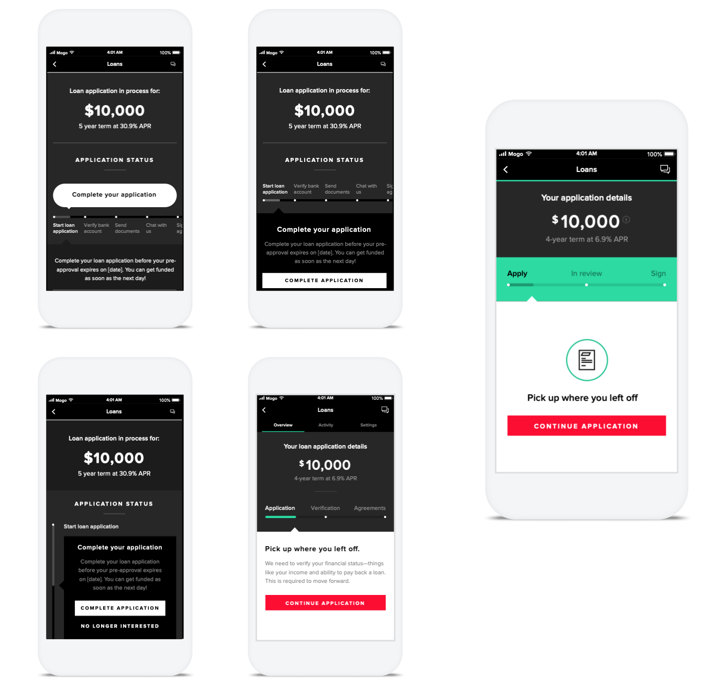 Few of many iterations I did for application status.