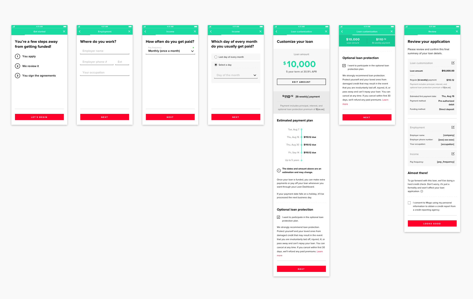 High-fidelity mockups for the loan application (experience before the Bank Verification flow).
