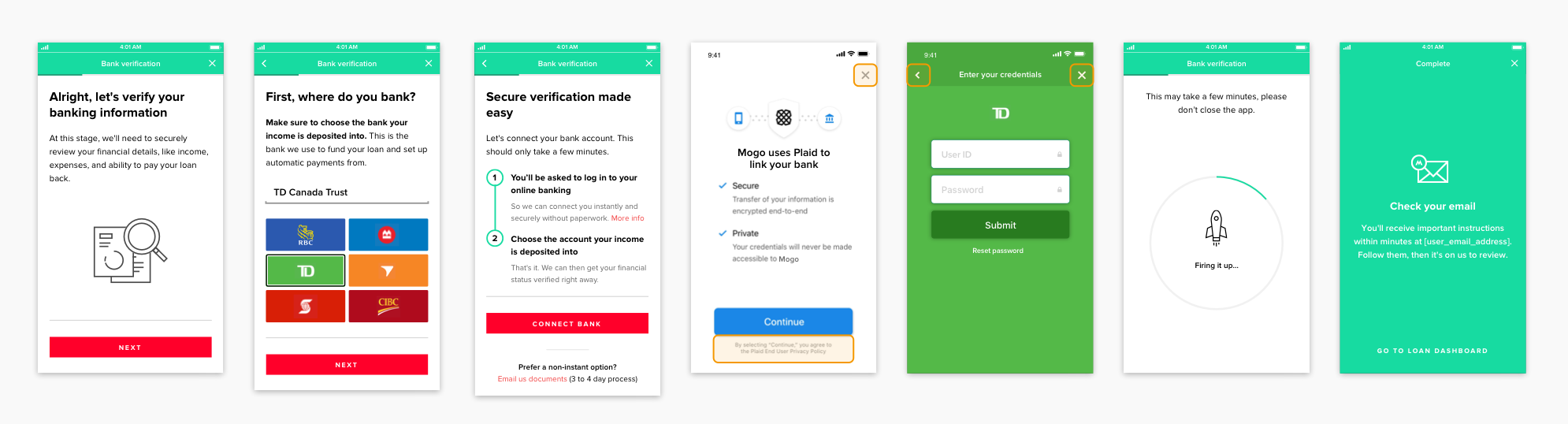 High-fidelity mockups for the Bank verification flow.