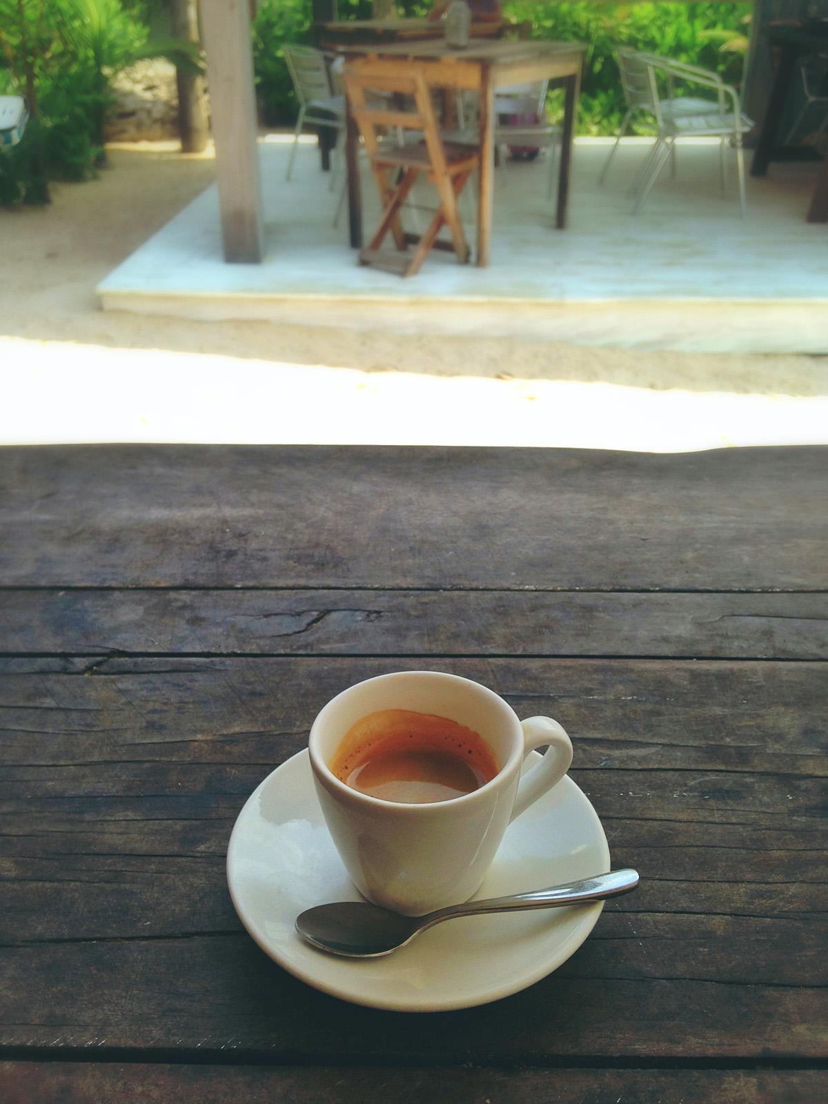 espresso  on the beach