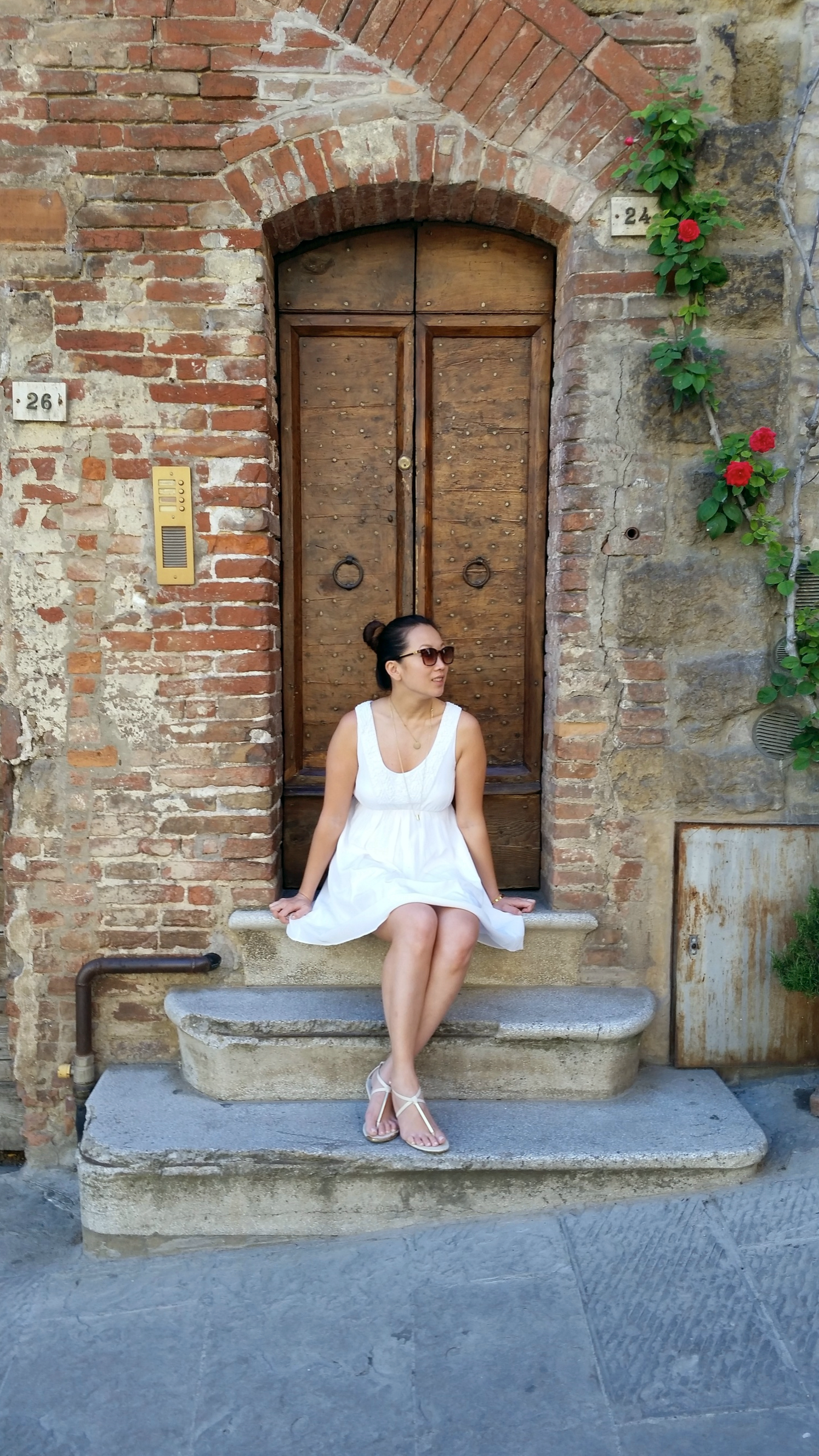 PIENZA, ITALY  Waiting for a table of some serious Tuscan grandmother cooking in Pienza