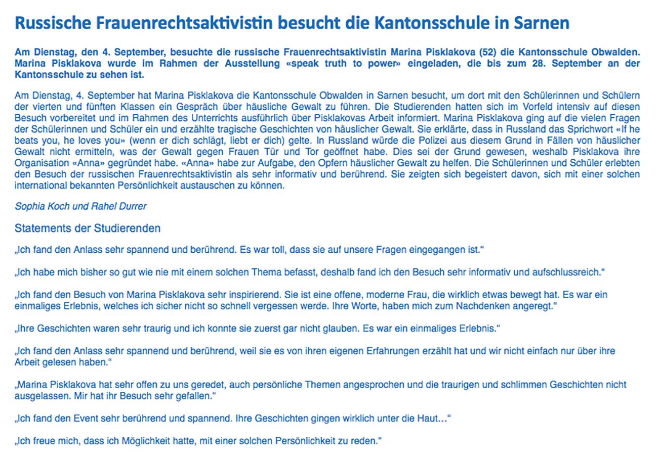 Bericht zum Besuch von Marina Pisklakova an der Kantonsschule Obwalden.