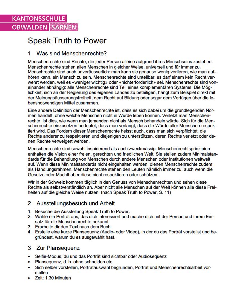 """QR-Code Projekt zur Fotoausstellung """"Speak Truth To Power"""" von Fachlehrer M. Bhend, Kantonsschule Obwalden"""