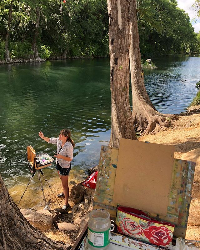 In my happy place with one of my favorite people and artists @cleighholder  #art #artist #landscape #pleinairpainting #pleinair #texas #texasartist #guache #painting