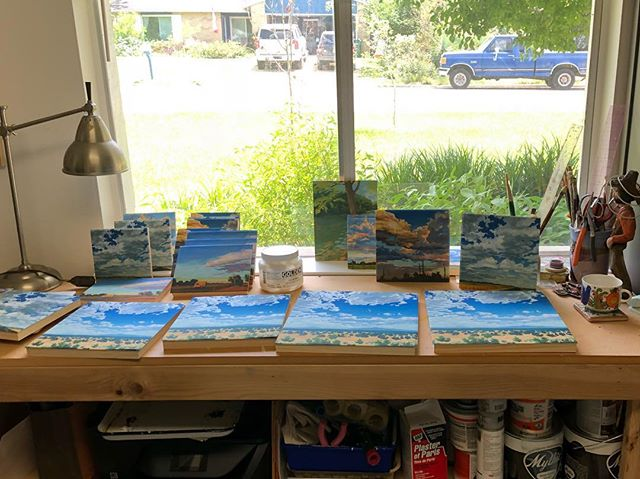 Preparing a fresh batch of prints on panel to take down to @thatcherbuda this week! Prints of several landscapes are available online as well and special sizes can be requested. Link in profile.  #landscape #painting #landscapepainting #guache #art #texasartist #austin #austinartist #westtexas #westtexasart