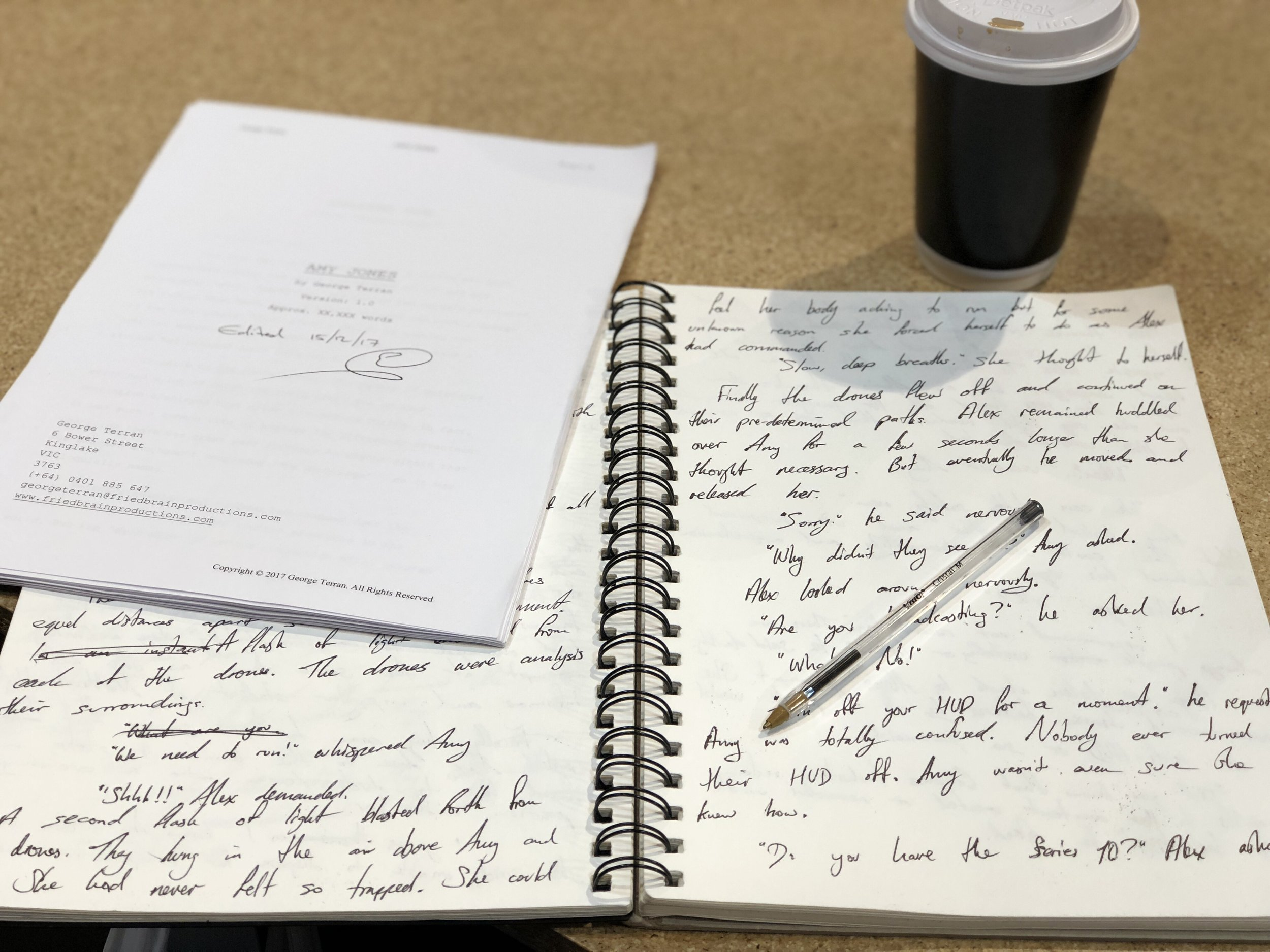 The Mobile set-up for writing... Coffee? Check. Pen? Check. Paper? Check. Print-out to rip apart and rebuild? Check.