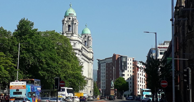 A green street scene, College Square, Belfast