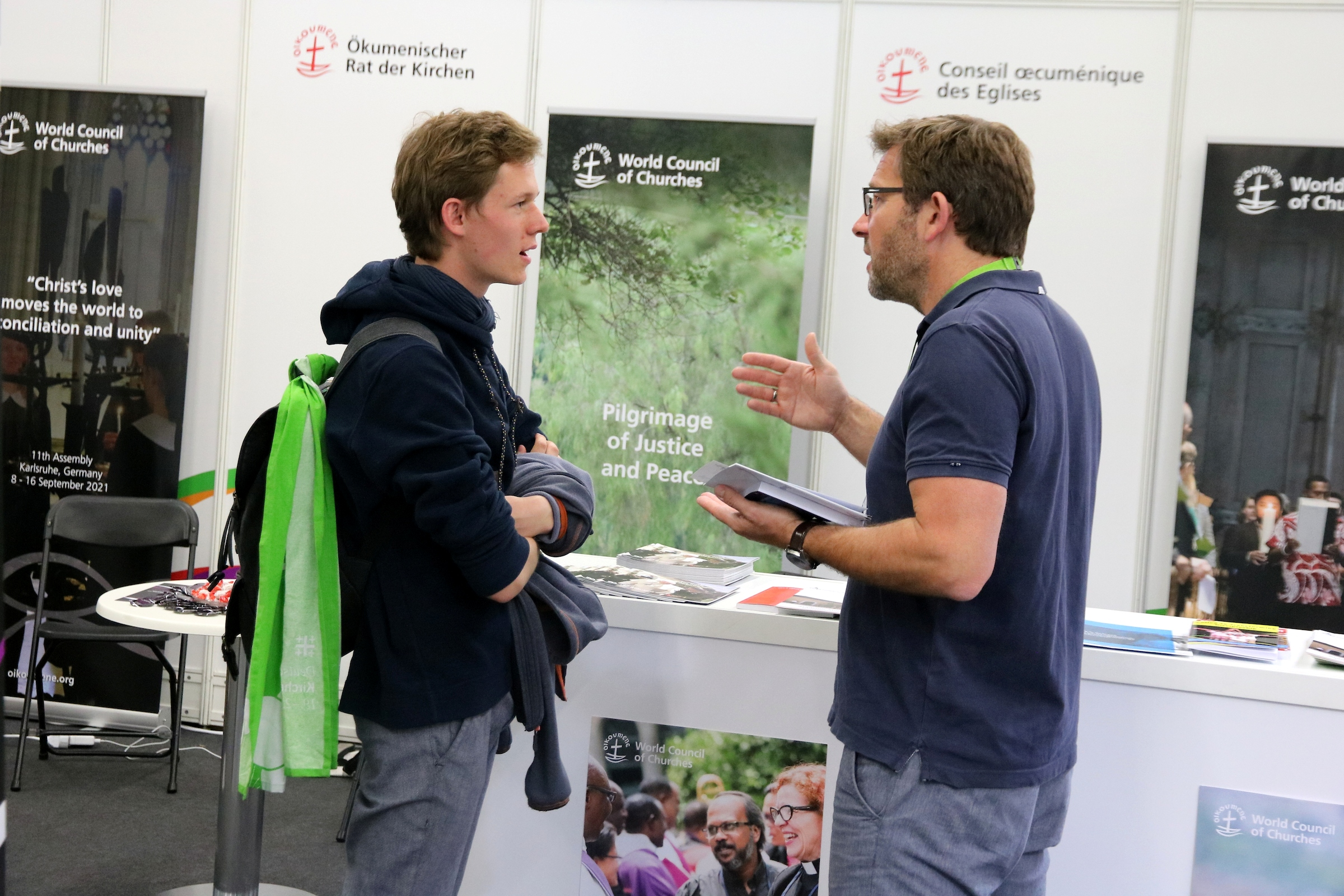 Ecumenical studies in Bossey was one of the hot topics at the WCC booth in Kirchentag 2019. Photo: Ivars Kupcis/WCC