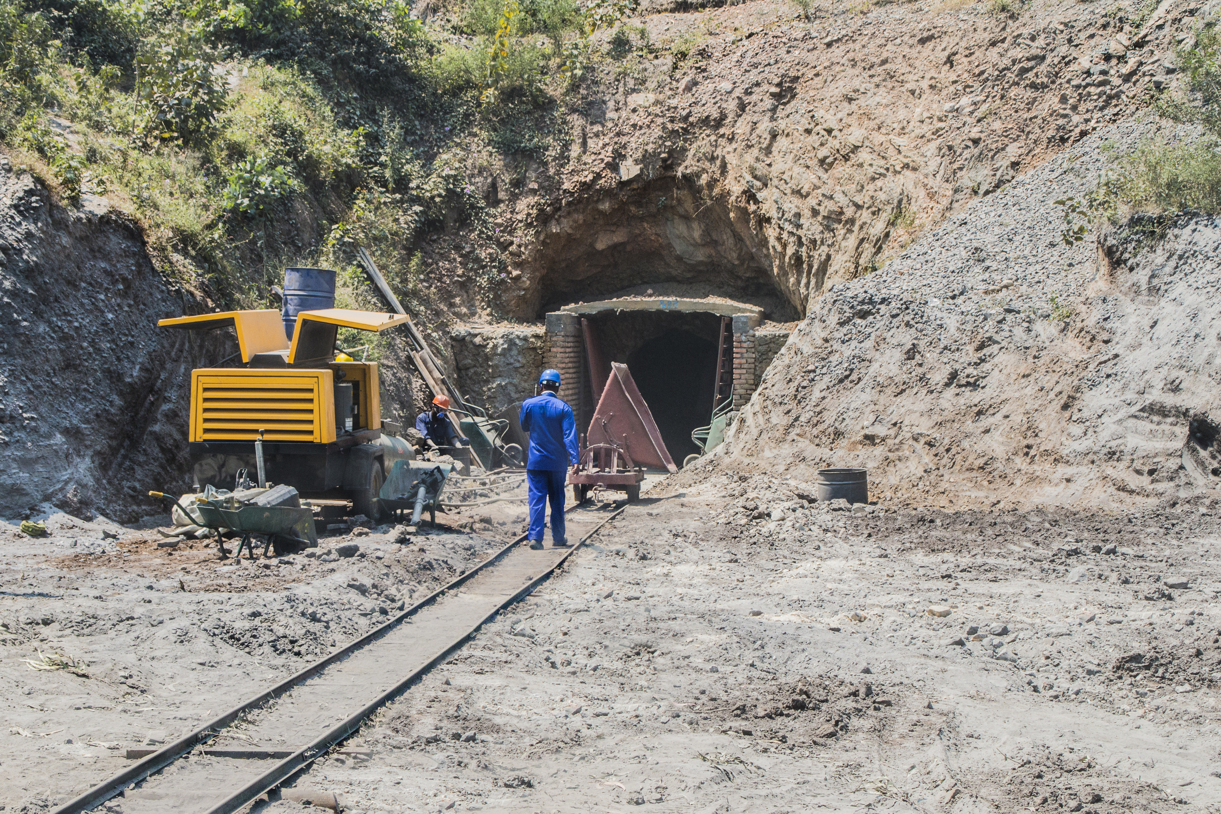A semi-industrialised tungsten mine, Rwanda