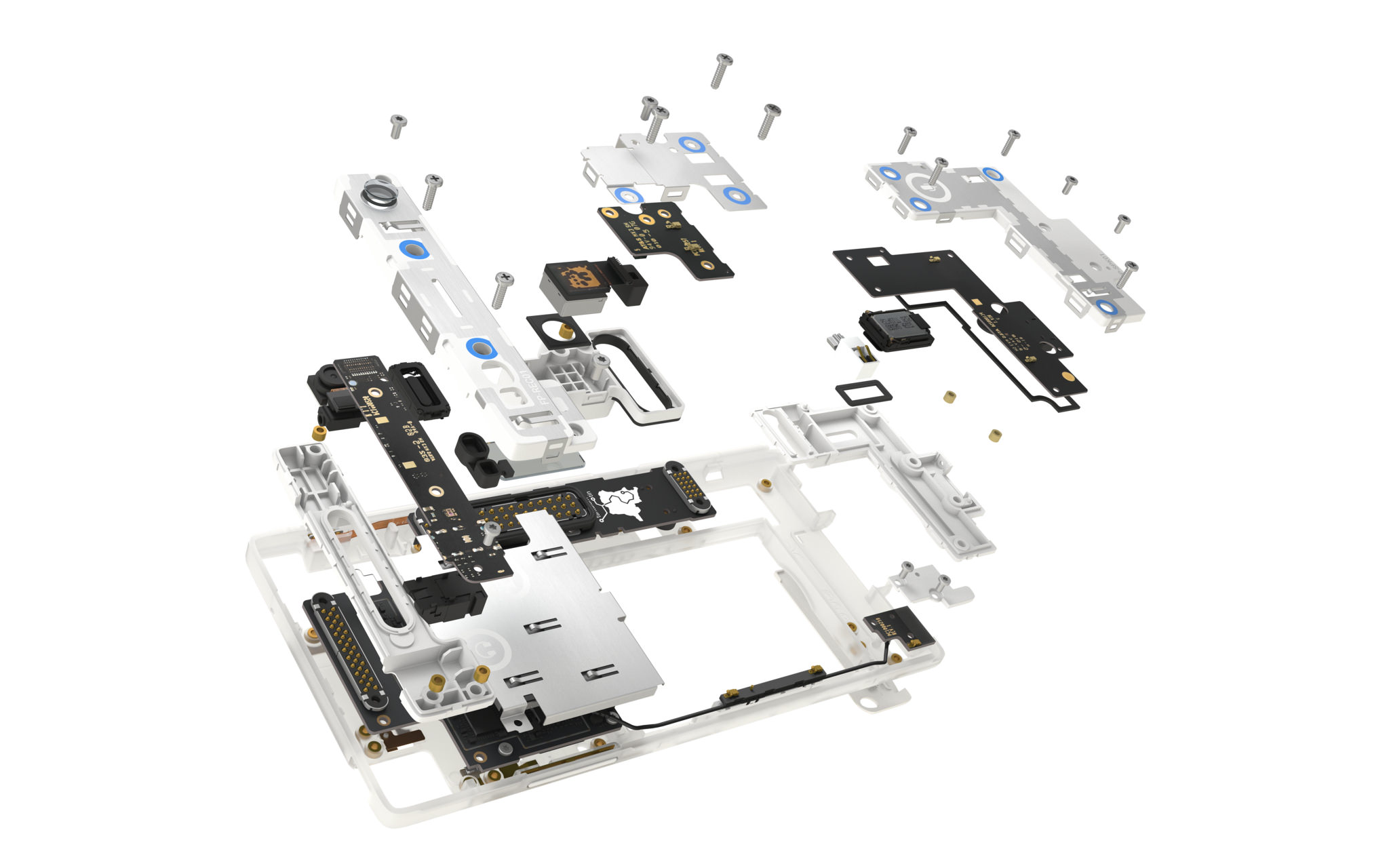 The Fairphone 2, exploded view of modular architecture
