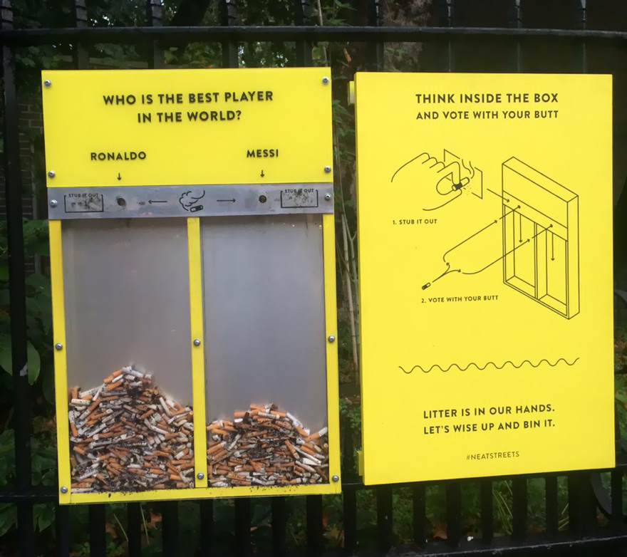 The now infamous cigarette voting bins, championed (and stolen) by cities all over the world following Hubbub's pilot project in Villiers Street, London.