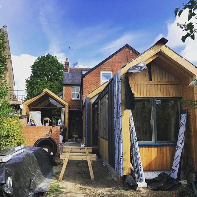 Progress at Park Road #zinc and #timber #cladding  #brick and #bluesky