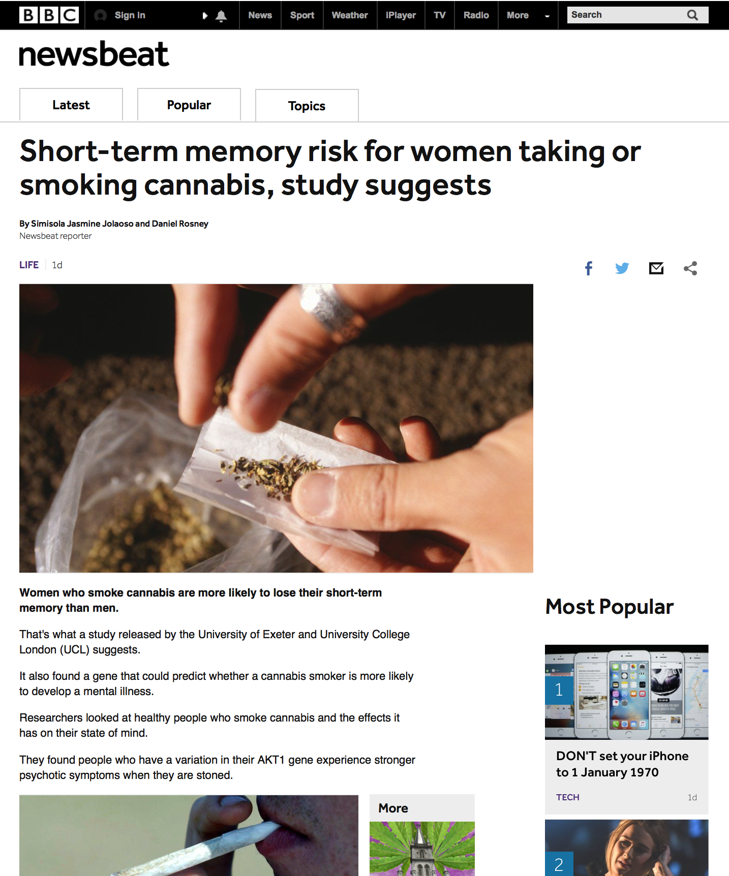 BBC Newsbeat Article Women and Marijuana pg1.png