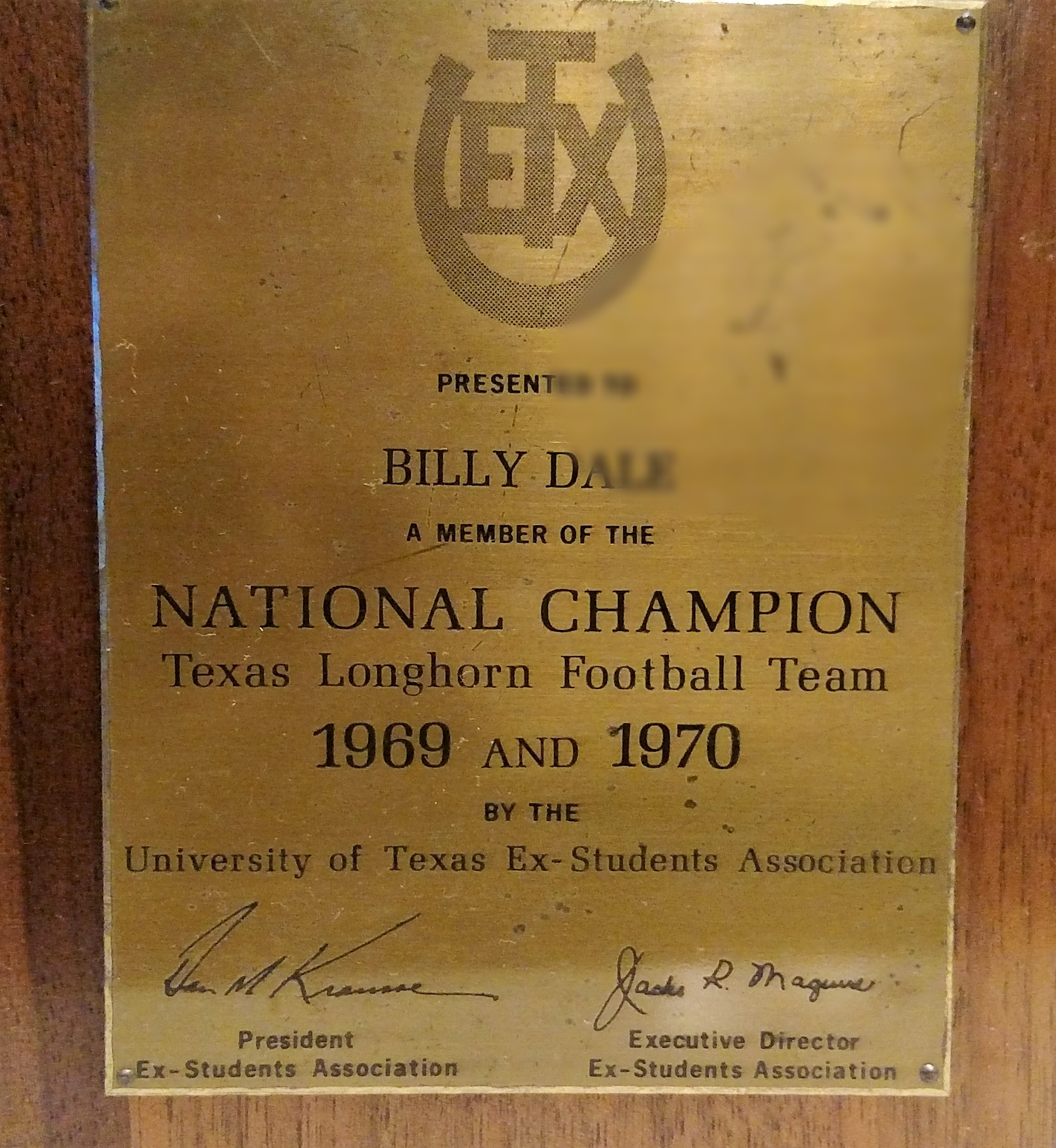 Outside of Plaque given to the 1969 and 1970 National Champs by the Texas Ex-Students Association