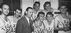 The 1947 UT basketball team in their Gregory Gym locker room after defeating Arkansas for the SWC championship. From the left, Tom Hamilton, John Hargis, Al Madsen (back), Slater Martin, coach Jack Gray (front), Roy Cox, Dan Wagner, and John Langdon.