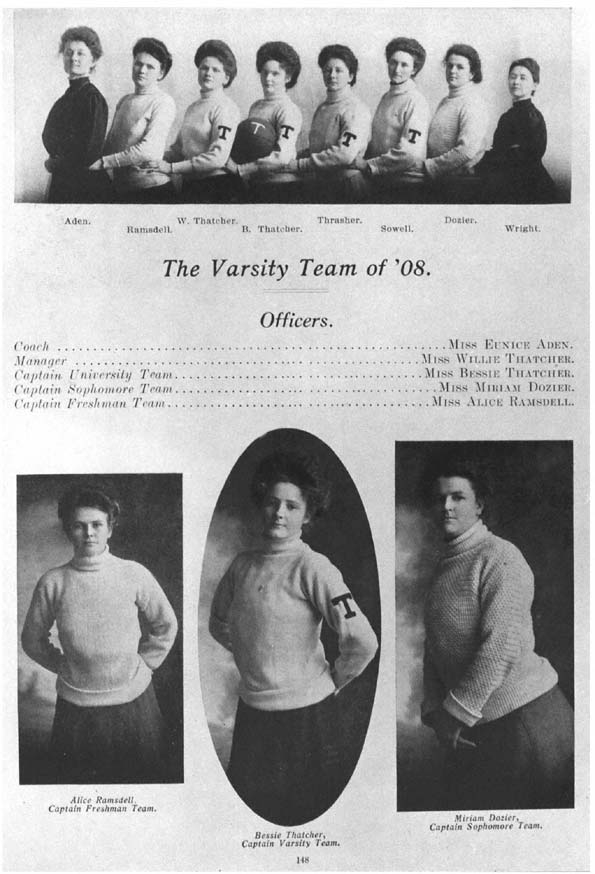 Image of the 1908 women's varsity team is from the Dolph Briscoe Center -