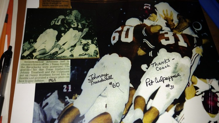- Pat is best remembered for his hit [along with Johnny Treadwell] on Arkansas' Danny Brabham in 1962 that forced a fumble at the goal line and spurred the Longhorns to a 7-3 victory and a SWC title.