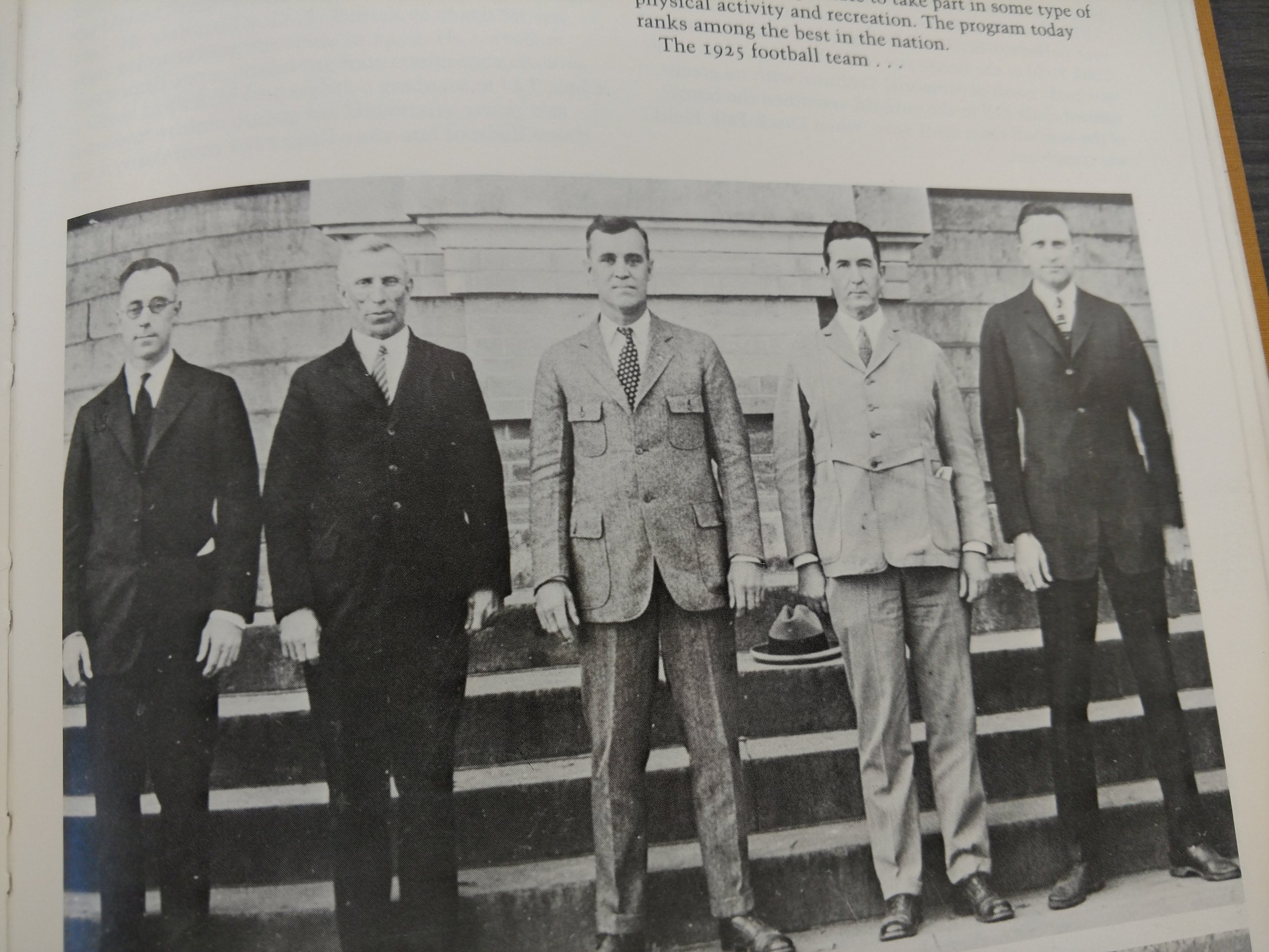 Longhorn Sports Leaders in the 20's- Berry Whitaker, Billy Disch, Theo Bellmont, Doc Stewart, and Clyde Littlefield. -