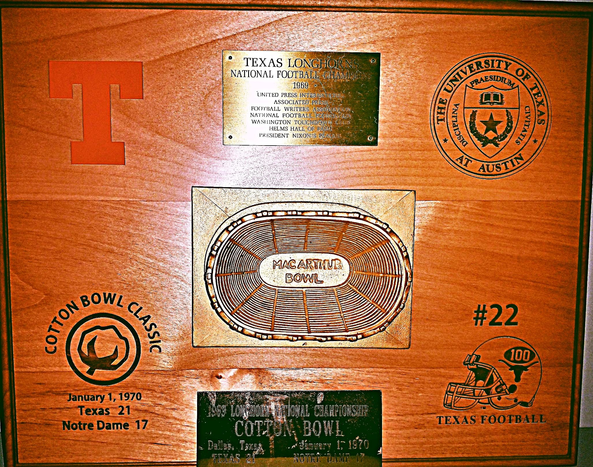 1969 National Championship plaque