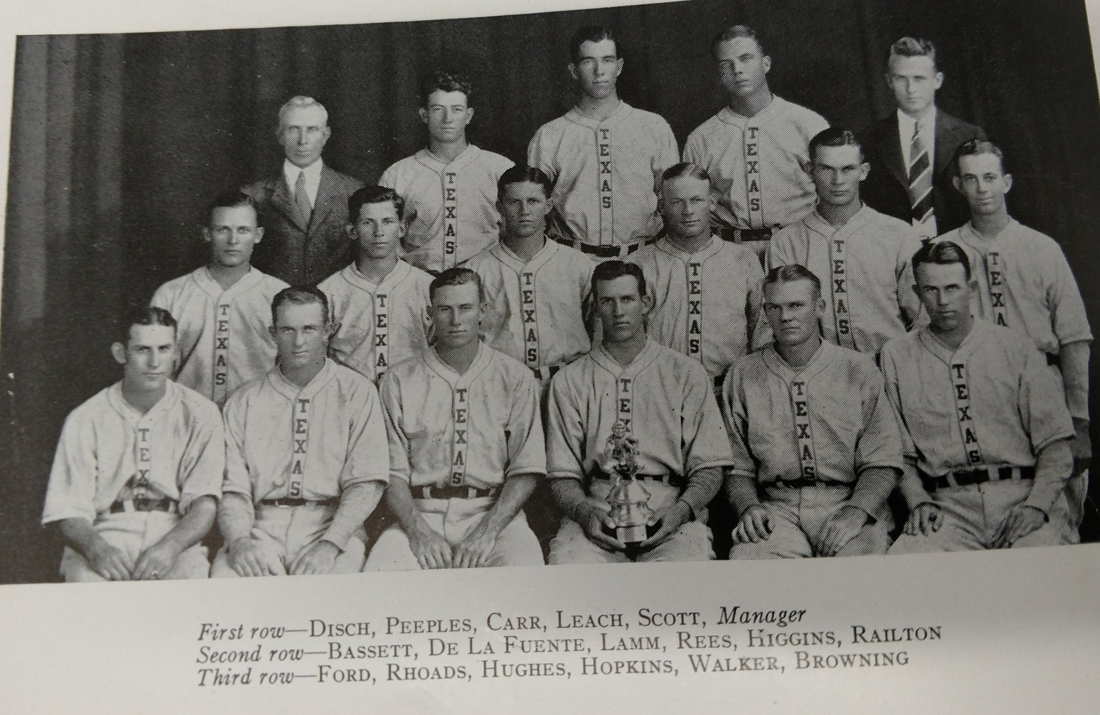 """1930's baseball team uniforms spelled """"Texas"""" straight up and down"""