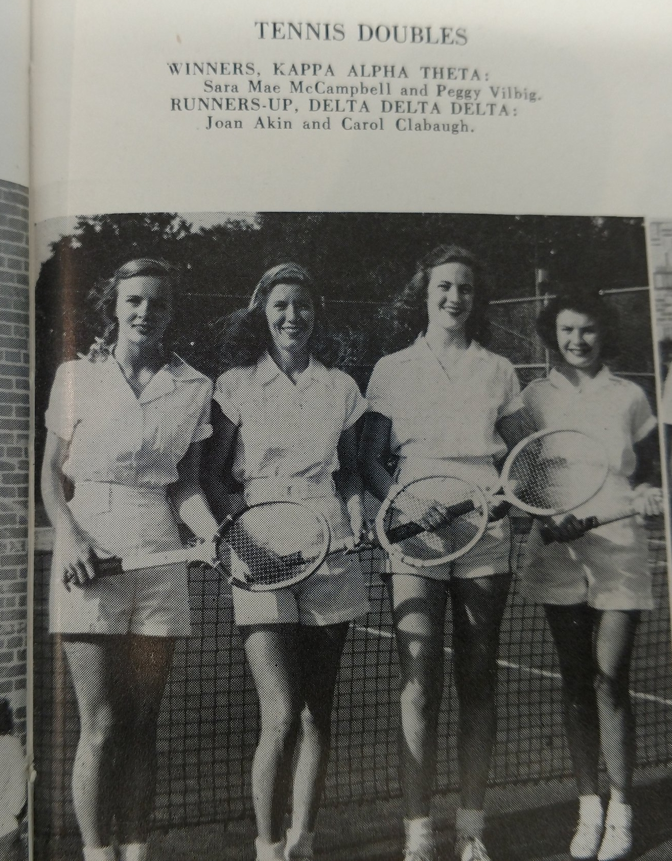 Copy of Winners doubles tennis Sara Mae McCampbell and Peggy Vilbig - Runners up Joan Akin and Carol Clabaugh