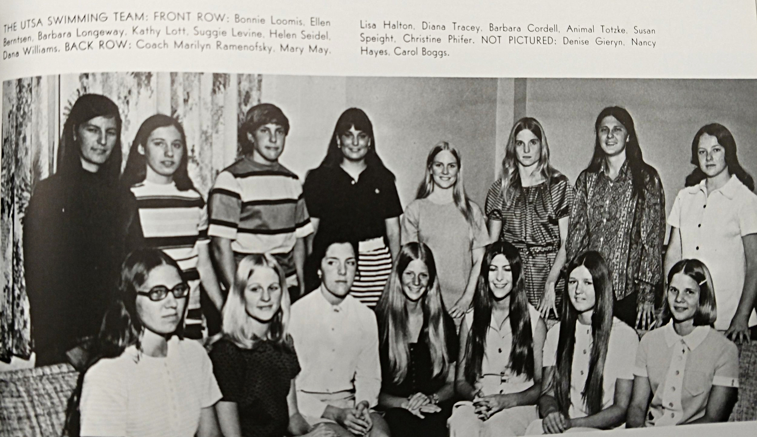 1971 swim team Coach Marilyn Ramenofsky