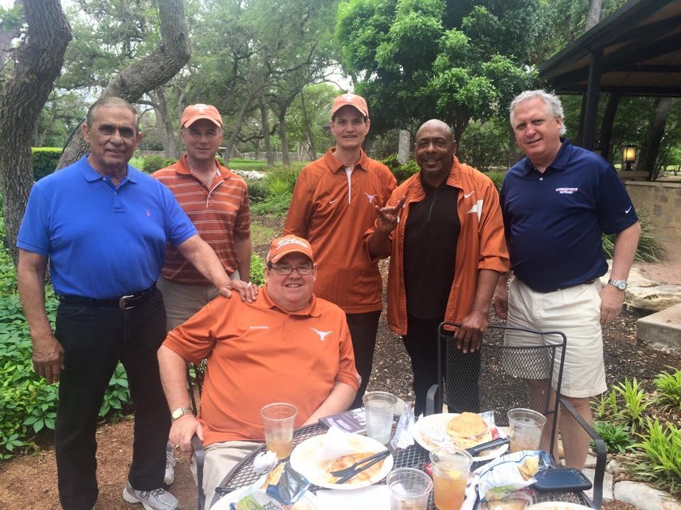 2015 Texas Football Letterman golf tournament at Circle C. (Left to right) Juan Conde, A.D,  Jim Hess,  Johnny Lam Jones, Rodney Doutel, Jeff Crozier.