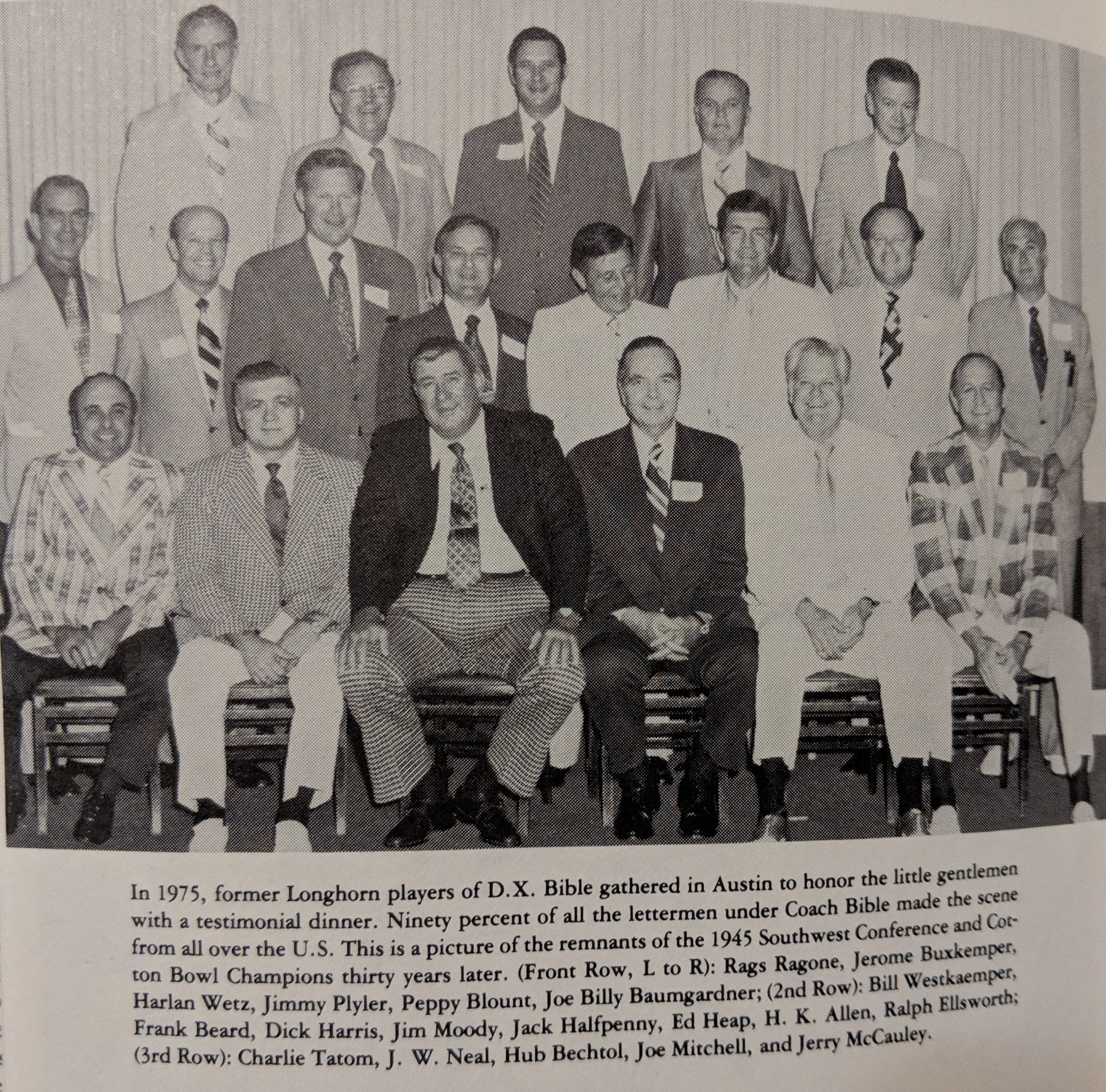1975 reunion of the 1945 Cotton Bowl champs -