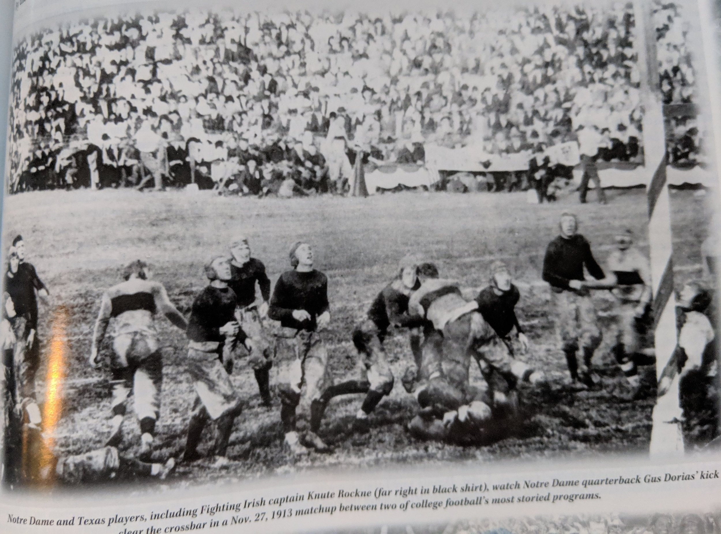 Knute Rockne is far right in black. Unfortunately, Clyde Littlefield the starting Longhorn quarterback is hurt and does not play against Notre Dame.