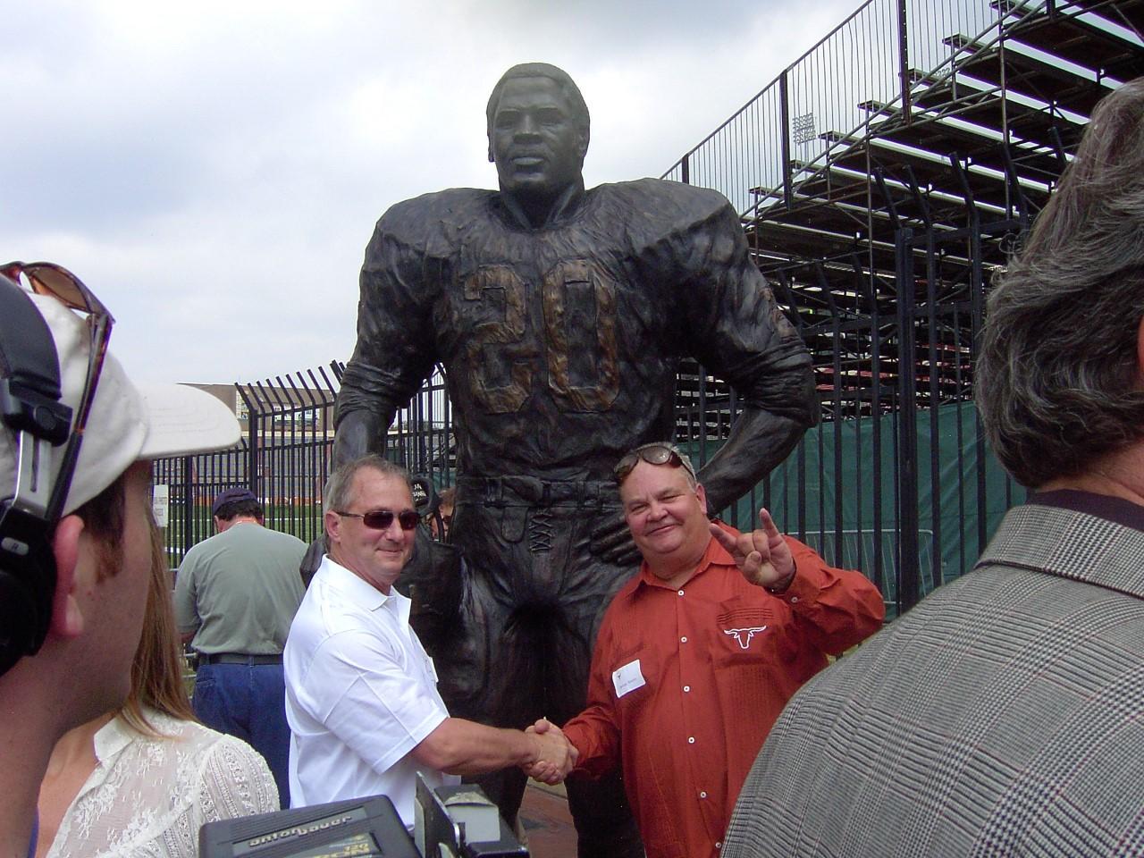 Jimmy Nixon with the creator of the Earl Campbell bronze Ken Bjorge.   Ken's Website is