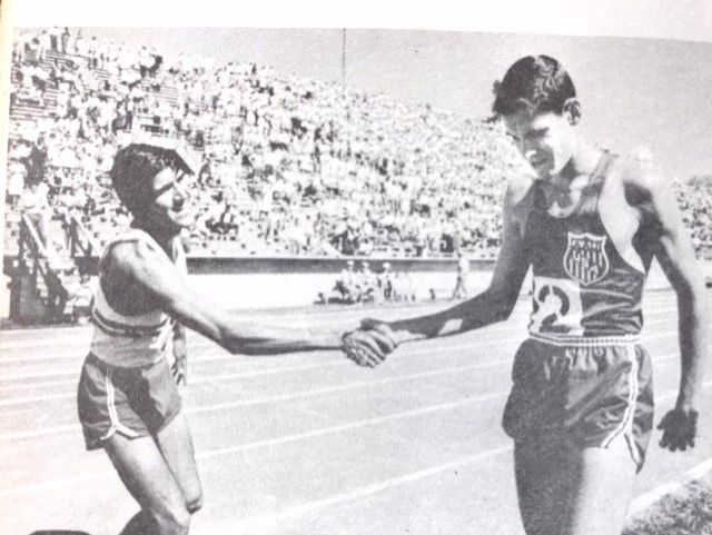 Ricardo congratulating Ryun after a race
